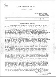 Scan of type-written first page of OFNC Newsletter, February 15, 1951