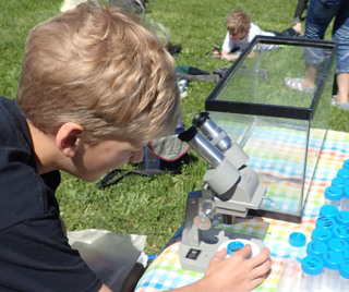 Photo of Macoun Club member using field microscope