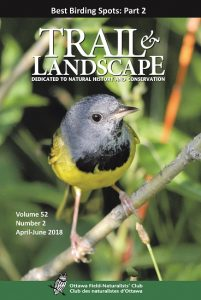 Mourning Warbler on the cover of Trail & Landscape Volume 52, number 2.