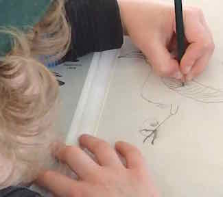 Photo of a Macoun Club member drawing a bird