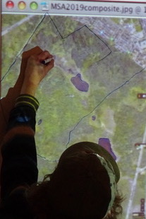 Photo of Macoun Club member tracing the outlines of wetlands for a new map