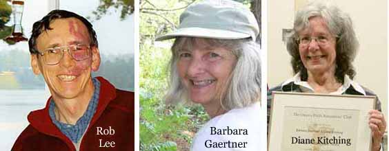 Photos of the Macoun Field Club's three long-time leaders (Rob Lee, since 1985; Barbara Gaertner, since 1989; and Diane Kitching, since 1994