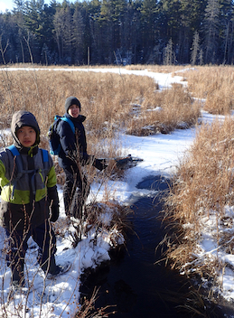 Photo of Macoun Club members by beaver canal in winter